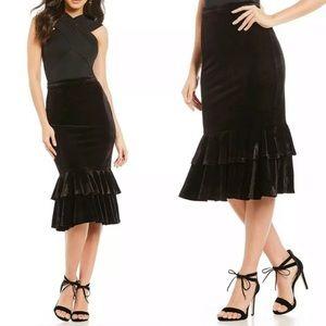 Gianni Bini layla black velvet ruffle midi skirt